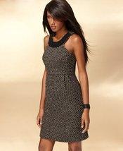 International Concepts Dress Beaded Collar Metallic Tweed Sheath Black S... - $99.99