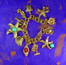 KJL Charm Bracelet Vintage Chunky Nautical Charms Adjustable Women's Dec... - $125.00