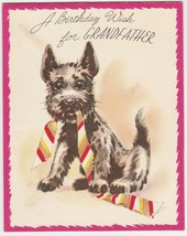 Vintage Birthday Card Scottish Terrier and Neck Tie 1950's Art Guild - $9.89
