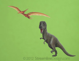 Printed T-rex and Pterodactyl on Reusable Wall Fabric - $24.95