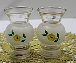Set of vintage 1950's Hand Painted Gold Trimmed Frosted Miniature Vases - $11.50