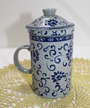 Beautiful Blue Floral Porcelain Tea Cup with Strainer and Lid - $11.50