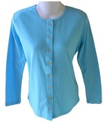 Organic Beach Size M Womens Tropical Blue Organic Cotton Button Front Ca... - $13.99