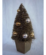 Decorated Gold Bottle Brush Tree Glitter Decor ... - $28.00