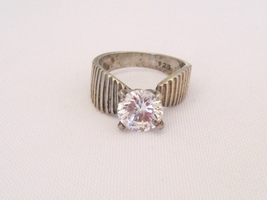 Vintage Sterling Silver CZ High Setting Ladies Ring Size 8 - $25.00