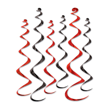 """Beistle Twirly Whirlys 4-24"""" & 2-36"""" (6 Ct) - Black & Red- Pack of 6 - $32.07"""