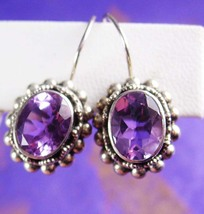 Brilliant AMETHYST Sterling Earrings Vintage Etruscan Silver 5ct Purple Faceted  - $75.00