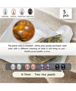 5pcs twins pearls oyster  Twins Pearl 10  rice peal oval pearl 6-7mm - $27.69