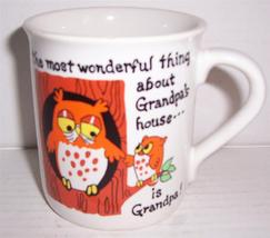 "NEW ""The Most Wonderful Thing About Grandpa's House..""- Owl Ceramic Coff... - $27.14"