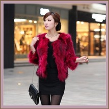 Garnet Red Natural Racoon Fur Three Quarter Sleeved Short Coat Jacket w/ Pockets