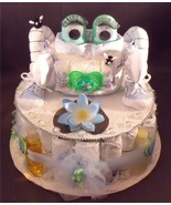 Blue Green FROG Baby Shower Gift Diaper Cake Ce... - $48.00
