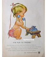 1958 Bell Telephone Ad Awesome Baby on Phone Advertisement - $6.92