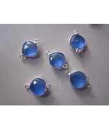 5 pcs blue chalcedony faceted almond beads loose connectors 10-11mm  - $15.19