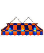 "BLUE & ORANGE 40"" STAINED GLASS POOL TABLE LIGHT FIXTURE HANGING BAR LAMP 40 IN - $899.95"