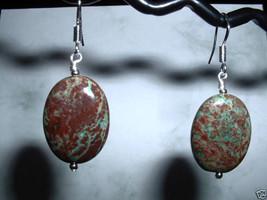 GREEN RAINBOW JASPER Sterling Silver Earrings 496 - $11.52