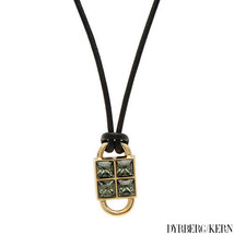 DYRBERG KERN Necklace Black Leather and Gold Pendant  with CRYSTALS $120 - $29.25