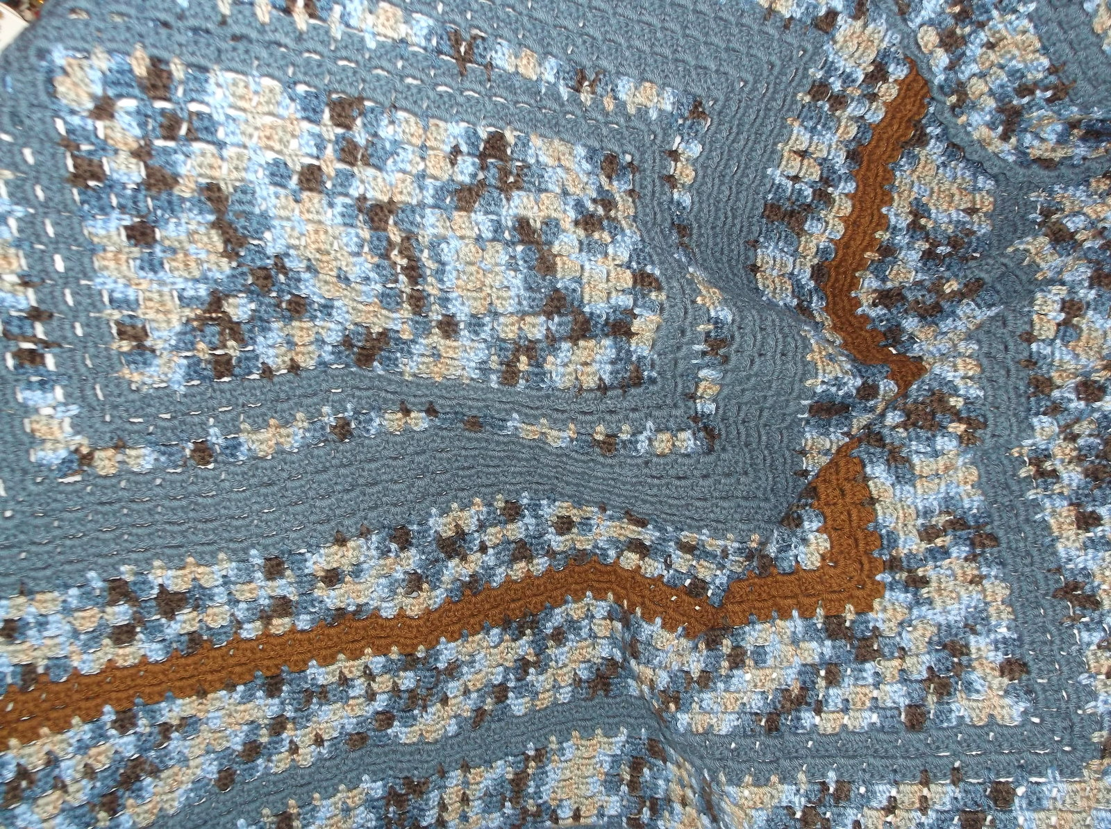 handcrafted crochet afghan city lights blue brown 57 x 42 throw lap