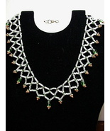 WHITE & GREEN SONORA-WEAVE NECKLACE - $15.00
