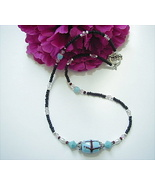 TURQUOISE LAMPWORK AND BLACK BEADED NECKLACE - 17 1/2 - $14.00