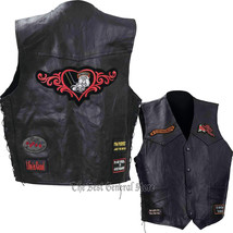 Women Buffalo Leather Motorcycle Vest with 9 Biker Style Patches Route 6... - $24.48