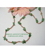 GREEN ADVENTURINE & CARNELIAN OPAL NECKLACE - 24 INCHES - $12.50