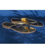 Guess by Marciano Flip Flops 7.5 M Womens Gold & Black Shoes  - $17.00