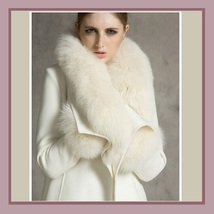 Warm Wild Artic White Wolf Faux Fur Collar Ivory Woolen Cashmere Lined Overcoat