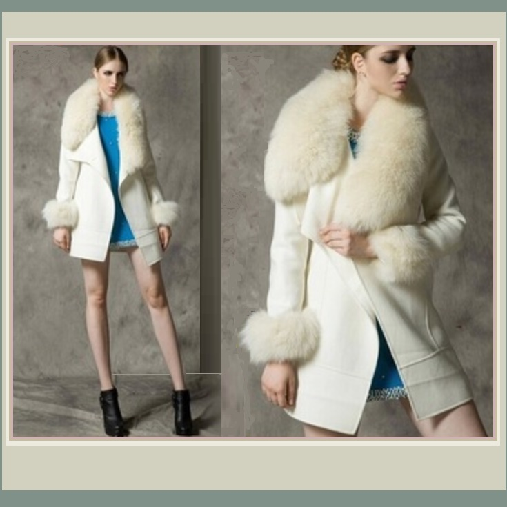 Warm Wild Artic White Wolf Faux Fur Collar Ivory Woolen Cashmere Lined Overcoat image 2