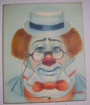 ORIGINAL 1972 CLOWN WITH GLASSES PAINTING BY ROLDA - $386.99