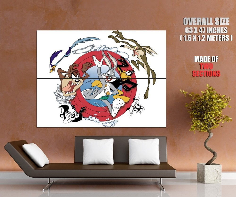 Looney Tunes Logo Characters Daffy Duck Coyote Devil Giant