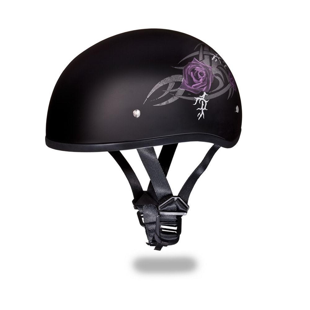 7381ddbd Daytona Helmets Skull Cap Open Face W/ PURPLE ROSE DOT Motorcycle Helmet  D6-PR - $73.15