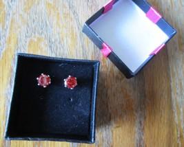 Vintage Signed Faux Carnelian Citrine Red Orange Gemstone Faux Gold Stud... - $24.99