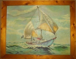 ORIGINAL ART SIGNED GENE VIEITO PIRATE SHIP PAINTING - $490.05