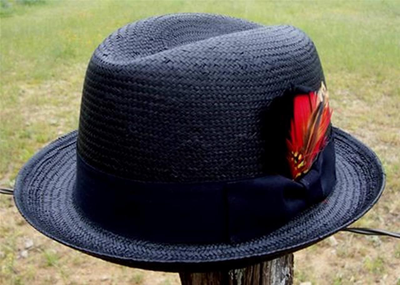 5d7d2ac86ad3a New Black Men s Godfather Straw Homburg and 50 similar items. 57