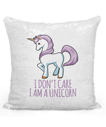 "Sequin Pillow With Stuffing i Dont Care i Am a Unicorn 16"" Magic Flip - $34.25"