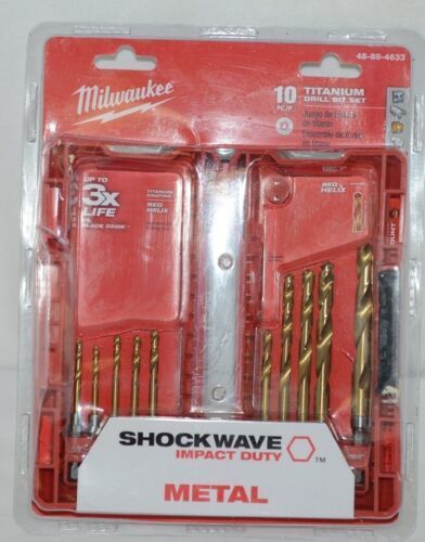 Milwaukee 48894633 Shockwave Titanium Drill Bit Set 10 Pieces