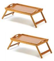 Portable folding leg bamboo wood serving tray w... - $29.00