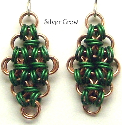 Chainmail Earrings Deep Green Aluminum & Copper Chainmaille
