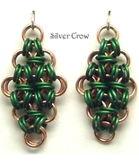 Chainmail Earrings Deep Green Aluminum & Copper Chainmaille - $11.99