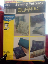 Simplicity (2) Patterns for Dummies  9873 & 9566  Window Coverings & Pillows New image 5