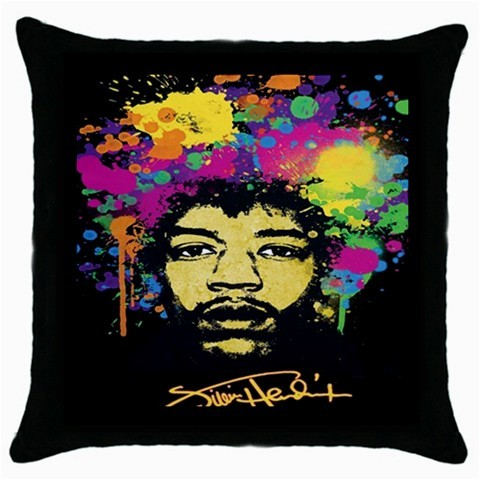 JIMI HENDRIX  Black Cushion  Cover Throw Pillow Case