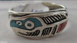 Sterling Silver Colored Turquoise and Coral Inlayed Feather Band Ring 13 - $19.95