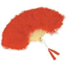 Red Marabou Feather Fan - $15.00