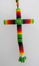 Native American Cut Glass Beads CROSS Leather Necklace Pendant Green Kio... - $49.99