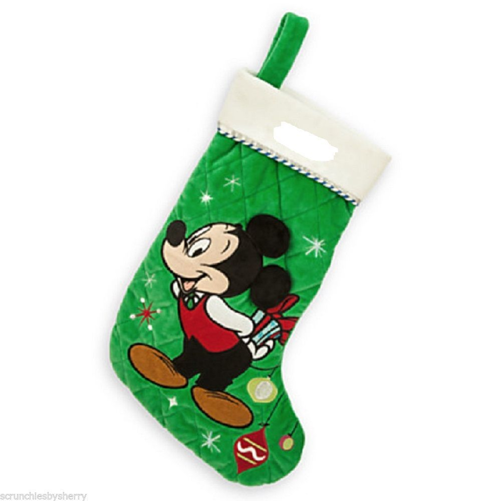 Disney Store Mickey Mouse Christmas Stocking Plush Green