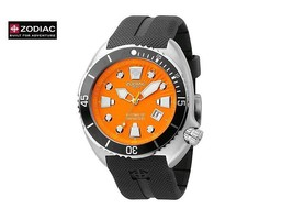 ZODIAC ZO8002 Men Round AUTOMATIC Diver Steel Watch Black Silicone Orang... - $1,163.71