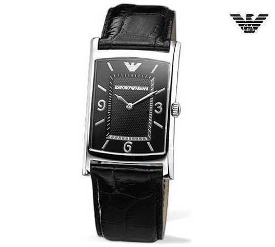 3be6d04a678 57. 57. Previous. EMPORIO ARMANI AR0147 Men Women Square Steel Watch Black  Leather Band Black Dial