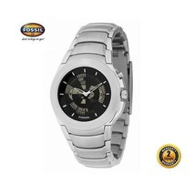 FOSSIL BG2077 Men Round Watch Silver Steel Bracelet Black Dial Animation Dispaly - $137.61