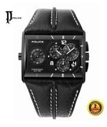 POLICE PL11397JSB/02 Men's Rectangle CHRONO Steel Watch BLACK Leather BL... - $349.46