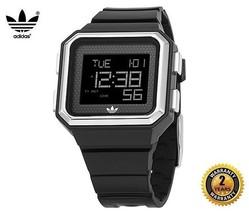 ADIDAS ADH4011 Men Women Square Digital Watch Silver Black Silicone Blac... - €109,40 EUR